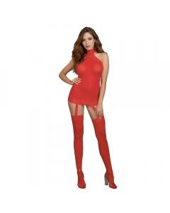 Vestido con liguero 0035 rojo unitalla